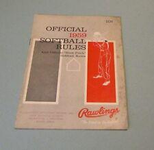 1959 Rawlings Official Softball Rules Champions Listing Plus Glove Bat Ball Ads