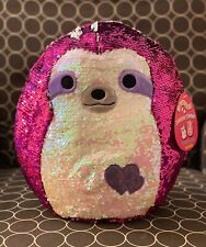 """NWT Squishmallow 12"""" Reversible Sequin Sloth Valentines 2020 Kellytoy NEW"""