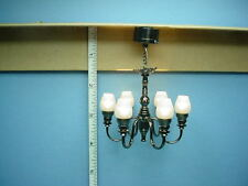 Dollhouse Miniature Battery Operated 6 Arm Black Chrome Chandelier  #CL28S