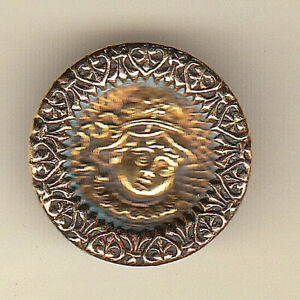 KATE GREENWAY BRASS picture button CHILD w BONNET