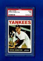 1964 TOPPS BASEBALL #206 STEVE HAMILSON PSA 7 NM NEW YORK YANKEES SET BREAK