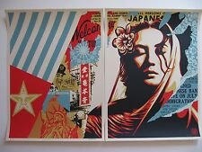 Shepard Fairey Welcome Visitor Diptych Obey Giant Poster Print Urban Street Art