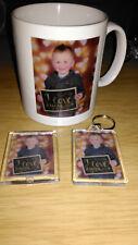 Personalised mug and keyring and fridge magnet
