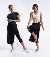 NWT Betabrand The Sassiest Pants Black Stretch Capri Skirt Overlay Womens Medium