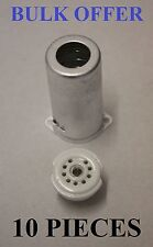 NOVAL B9A CHASSIS SOCKETS  SOC9CS INC SCREENING CAN VALVES / TUBES 10 PIECES