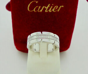 Authentic Cartier Tank Francaise Diamond 18k White Gold Band Ring 49