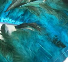 AQUA BLUE BRONZE Rooster Feather Fringe Ribbon Trim DIY Craft (price for 30cm)
