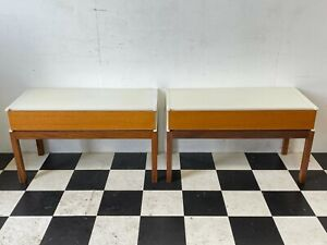 2x vintage mid century retro teak melamine bedside nightstand tables -Delivery