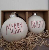 BRAND NEW Rae Dunn MERRY and BRIGHT Christmas Ornaments Holiday Home Decor