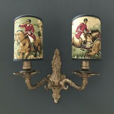 Hunting Scene - Handmade, Candle Clip Half Lampshade for Wall Lights