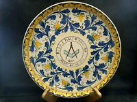 """Made in Italy Masonic Symbol Menfi Wall Plate 11 7/8"""" Signed Sciacca Exclt w2s8"""