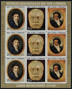 St Thomas & Principe 617 Sheet MNH Beethoven, Charles & Diana Wedding, Gold o/p