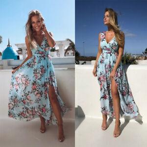 Womens Boho Floral V-neck Summer Sundress Beach Holiday Party Casual Maxi Dress