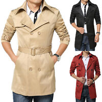 Mens Winter Slim Double Breasted Trench Coat Long Jacket Parka Overcoat Outwear