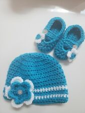 Baby girl Hat and Booties, 0-3 month, blue and white Shoes Set, photo prop
