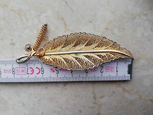 Alte Vergoldet Brosche 835 Silber gepunzt filigrane Blatt