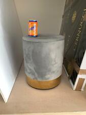 Grey Velvet & Brass Stool Pouffe Round (45cm High x 35cm Wide) - Used