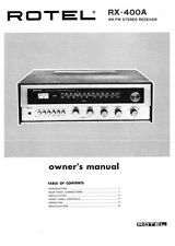 Rotel RX-400A Receiver Owners Instruction Manual