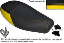 Amarillo Y Negro Custom encaja Piaggio Vespa ET2 Et4 125 Doble Cuero Funda De Asiento