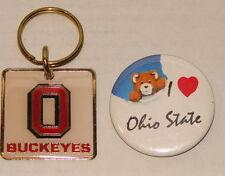 "Set Of 2 - University Of OHIO STATE BUCKEYES Key Chain &""I LOVE OS Pin / Pinback"
