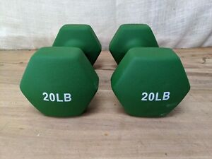 2 x 20lb Pair of Green Neoprene Dumbbells Hand Weights (40lb Total)