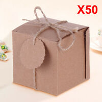 50 Eco Rustic Sweet DIY Wedding Party Candy Gift Boxes Natural Shabby Chic Kraft
