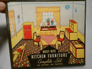 Vintage Warren Built Rite Kitchen Furniture Doll House Set in Original Box
