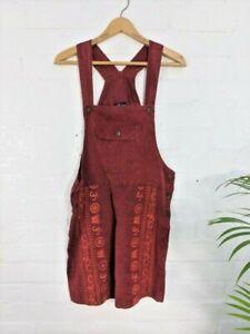 GRINGO Boho Cotton Dungaree Shorts Hippy  Fit Size  10 12 14 16  RED