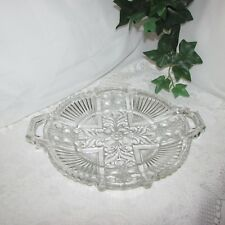 """VINTAGE PRESSED GLASS SERVING PLATTER DISH TRAY HANDLES FLOWER 10"""" CLEAR PLATE"""