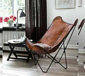 New Eco Friendly Handmade Leather Butterfly Chair Dark Brown Color