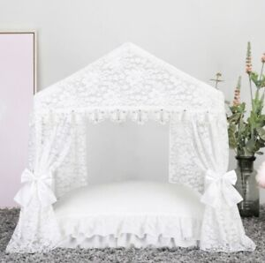 New Princess Handmade Lace Pet Dog Cat Bed House Tent Sofa Cushion White
