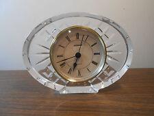 "Vintage 6"" Oval Staiger Desk Clock Quartz Movement Lead Crystal West Germany"