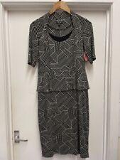 Ladies FEVER CITY Black/Grey Patterned Viscose Dress Size 12 - CG O06