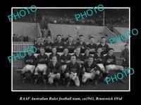 OLD POSTCARD SIZE PHOTO OF RAAF AIR FORCE FOOTBALL TEAM c1940 BRUNSWICK OVAL