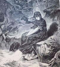 5 Engraved 1867 Illustrations Fr von Schiller's Poem MAIDEN'S LAMENT, THE DIVER