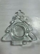Christmas Tree Clear Glass Votive Tea Light Candle Holder Small Table Top Xmas