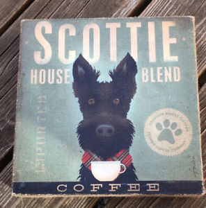 NEW SCOTTIE HOUSE BLEND COFFEE Canvas Sign Wall Hanging Stephen Fowler Demdaco
