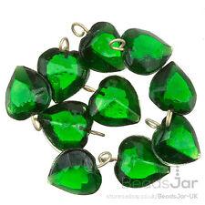 Transparent Green Glass Heart Charm Pendants 15mm Pack of 10 (A93/8)