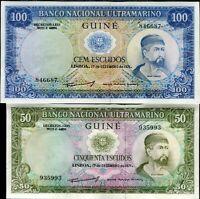 PORTUGUESE GUINEA SET 2 PCS 50 100 ESCUDOS 1971 P 44 45 UNC