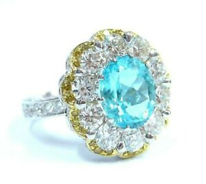 Aqua Oval Sim Diamond Cluster Flower Ring Round Halo Right Hand Ring Gift her