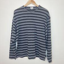 Calvin Klein Jeans Unisex Long Sleeve Grey Striped Top Size Medium