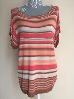 Next Womens Jumper Size 14 Multicoloured Striped Lightweight Short Sleeved