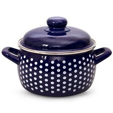Enamelware Pot Blue color White Polka dot Made in Serbia 7.5 L
