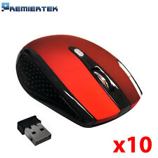 Lot of 10 2.4GHz Wireless Cordless Optical Mouse Mice 6 Key DPI PC Laptop Red