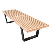 LeisureMod Lynwood Mid-Century Platform Slat Bench in Natural Wood 5 Feet