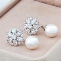 Women Silver Rhinestone Crystal Shell Pearl Snowflake Stud Earring AAA Real Hoop