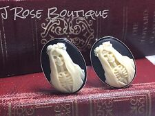 DEVOTED TO DEATH SLV SANTA MUERTE SKELETON SAINT SKULL wedding  CufflInks bride