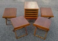 End Table 4 TV Tray Tables Drawers Folding Space Saver 1980's Allen Classics (?)