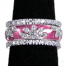 3-RING SET_ROSE PINK ENAMEL FLORAL CZ BAND RINGS_SZ-5_925 STERLING SILVER