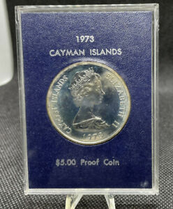 Cayman Islands 1973 $5 Silver Proof Coin - 1.0557 asw